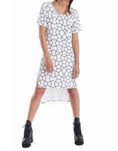 Nemis Women Side Split T-Shirt Dress Octa Korean Streetwear, Drop Crotch Pants, Side Split, Viscose Fabric, Korean Fashion, Street Wear, Fashion Dresses, Women Wear, Short Sleeve Dresses