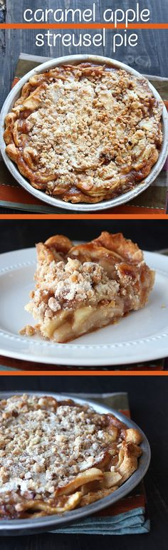 Rich and buttery crust, an easy homemade caramel apple filling, and a toffee streusel topping!