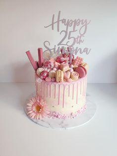 Birthday Drip Cake, Pink Birthday Cakes, 18th Birthday Cake, Birthday Cakes For Women, Birthday Cake Decorating, Cake Decorating Tips, Macaroon Cake, 18th Cake, Collagen Powder