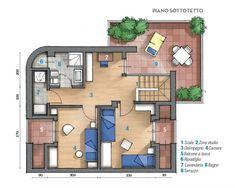 planimetria del sottotetto su due livelli, piano superiore