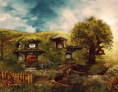 The Shire, Hobbit House 8 x10, Fantasy Landscape Home in the Shire Illustration on Etsy, $18.00