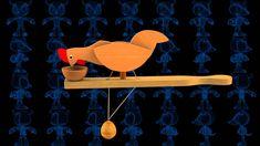 Pecking Chicken Wooden Toy 3D Model