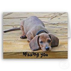 Dachshund Missing You Card