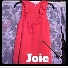 Joie silk ruffle top 100% silk. Brand new never used. Joie Tops