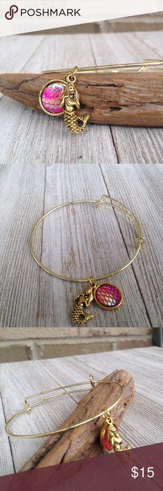Mermaid Bracelet - Pink Scales Charm Made by Colby Designs. Easily adjustable. Handmade Jewelry Bracelets