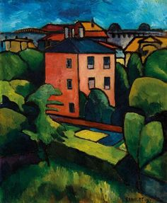 Alexander Kanoldt (German, 1881-1939), Das rote Haus, 1910. Oil on cardboard with canvas structure mounted on fibreboard, 61.20 x 51.10 cm