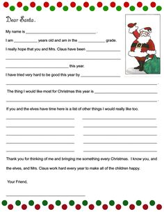 Stout Stop: Christmas Wish List and Kids Letter to Santa! Free Letters From Santa, Santa Letter Template, Santa Letter Printable, Letters For Kids, Best Christmas Wishes, My Christmas Wish List, Holiday Wishes, Christmas Holidays, Christmas Ideas