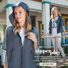 Cape Jacket with zip-off hoodie Grey cape zip jacket has removable hood with hidden zipper attachment // super flowy and soft fabric with breathable perforated sleeves Sharon Young Jackets & Coats Capes