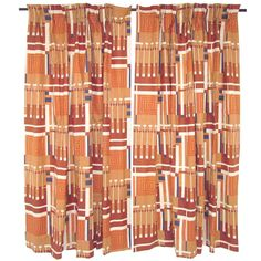 """Pair of Frank Lloyd Wright """"Taliesin Line""""  Curtains ca. 1950s   From a unique collection of antique and modern textiles and quilts at http://www.1stdibs.com/furniture/more-furniture-collectibles/textiles-quilts/"""