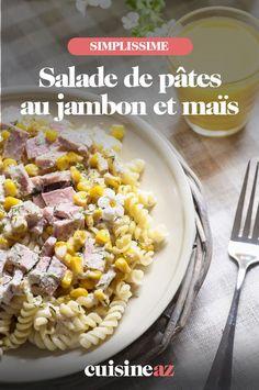 Une recette facile de salade de pâtes au jambon et maïs idéale pour être emportée en lunch box au bureau. #recette#cuisine #salade #pates #jambon #mais Vegetables, Food, Pasta Salad, Chopped Salads, Desk, Essen, Vegetable Recipes, Meals, Yemek