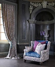 Prestigious Textiles have been designing beautiful interior fabrics and wallpapers for over 30 years. Choose from the UK's widest range of upholstery, cushion and curtain fabrics. Prestigious Textiles, Purple Rooms, Rich Home, Grand Palais, Fabric Houses, Modern Prints, Drapes Curtains, Wingback Chair, Classic Style