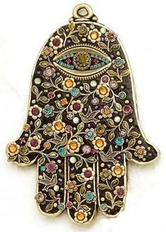 ✯ Michal Golan Black Floral Wall Hamsa with Swarovski Crystals ✯
