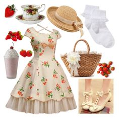 """""""11: Country: Lolita Fashion 50"""" by limerick-riddle ❤ liked on Polyvore featuring Colorful Shoes, Helen Kaminski, John Lewis, Royal Albert, country, lolita, lolitafashion, LolitaStyle and countrylolita"""