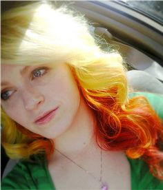 how i want my hair!!! but, instead of blonde, id have it red, fade to orange, and then yellow underneath.