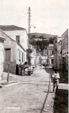 Back Street in the (From this view the Virgin Islands Daily News newspaper was located in the second building of the left, ahead of the man with the donkey. The boy could have been me, except when I was that age, the roads were paved. Us Virgin Islands, British Virgin Islands, Women In America, Caribbean Culture, Exotic Beaches, Site Visit, Island Girl, St Thomas, Historical Pictures
