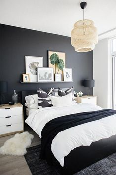how a dramatic black wall can instantly transform a basic condo bedroom. , See how a dramatic black wall can instantly transform a basic condo bedroom. , See how a dramatic black wall can instantly transform a basic condo bedroom. Home Decor Bedroom, Bedroom Makeover, Master Bedroom Color Schemes, Bedroom Decor, Small Master Bedroom, Bedroom Interior, Minimalist Bedroom, Master Bedroom Colors, Master Bedroom Makeover