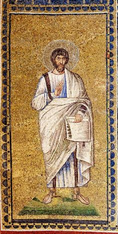 one of the 32 unidentified male figures depicted at the window level of the basilica of Sant'Apollinare Nuovo, Ravenna. They are probably prophets and other biblical authors. Some may be patriarchs of Israel. Numbering is from west to east. Ravenna Mosaics, Book Of Kells, About Facebook, Male Figure, Byzantine, Christianity, Street Art, Author, Photo And Video