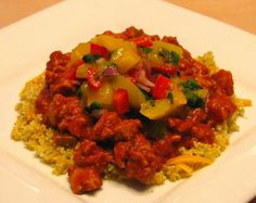 Taco Couscous with Mango & Green Onion Salsa  We have another wonderful recipe from the Testing Community! A healthy take on a southwest meal provided by Jean Ann Harrison Copyright @1995. Jean Ann is a Software Tester and Quality Assurance Engineer and is currently a part of Perfect Pitch Marketing Group.     Greg and I really enjoyed this unique and delicious recipe! The complex tanginess of the Mango & Green Onion Salsa complimented the taco mixture and couscous very well.