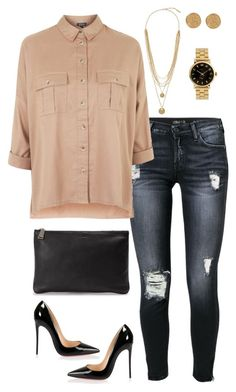 """""""Jeans and Heels Combo"""" by aazzm on Polyvore featuring 7 For All Mankind, Topshop, Christian Louboutin, Jil Sander, Karen Kane, Vince Camuto, Marc by Marc Jacobs, weekend, nude and OverSizedShirt"""
