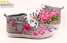 Casual Fashion Shoes for girls - Hand Painted Sneakers - La vie en Rose - Facebook: Lulush.Shoes