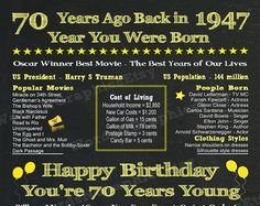 70th Birthday Poster Chalkboard 1947 Year Born 1947 Fun Facts Flashback Events 70th Gift for Mom, Grandma, Sister Back in 1947 Printable Instant Download File  PRINTABLE FILES: You get 4 digital .jpg file sizes at 300 DPI for no additional cost (See SIZES below). NO shipping cost! Printable items are available for immediate download.  HAPPY 70TH BIRTHDAY GIFT...This birthday sign with songs, movies, events and more from the year 1947 is an instant downloadable file that you can print on your…