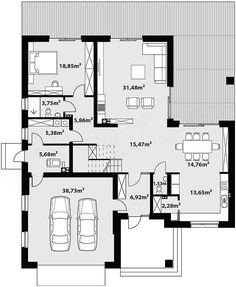 Projekt domu Goran 3 191,08 m2 - koszt budowy - EXTRADOM Dream House Plans, My Dream Home, House Furniture Design, Concrete Houses, Facade House, Modern House Design, Interior Design Living Room, Planer, Sweet Home
