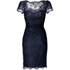 EMILIO PUCCI Draped Lace Overlay Dress in New Navy found on Polyvore