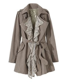 Trench Jacket Embellished with Removable Lace Ruffles