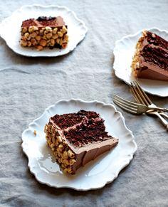 Chocolate Hazelnut Layer Cake with Cherry Filling and Chocolate Ganache.
