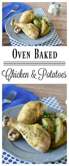 These oven baked chicken and potatoes are a perfect weeknight meal that's easy to make!