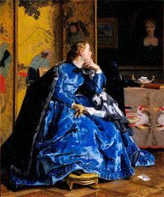 The Blue Dress, Alfred Stevens (1823-1906), Belgian Painter