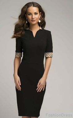 Black Dress. Shirt Collar Fitted Dress Day.Jersey Dress Knee Length.