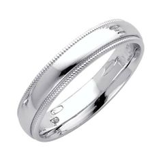 14K White Gold 4mm COMFORT FIT Plain Milgrain Wedding Band Ring for Men & Women (Size 4 to 12) The World Jewelry Center. $205.00. High Polished Finish. Promptly Packaged with Free Gift Box and Gift Bag