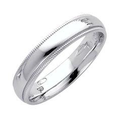 Wedding Bands Classic Bands Milgrain Bands Sterling Silver 4mm Milgrain Comfort Fit Band Size 6.5