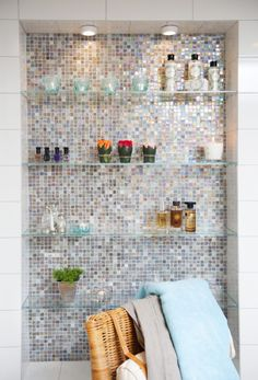 Nice bathroom shelves =). Take out medicine cabinets and do this. Perfect back splash for my glass shelves.