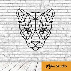 Geometric puma head wall art plan vector file for CNC - Geometric Drawing, Geometric Logo, Geometric Wall, Metal Animal, Polygon Art, Laser Art, Tattoo Flash Art, Diy Crystals, Animal Sketches