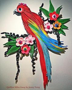 Project1: Birds #handmade #quillingpaper #quillingart #quilling #arts #madebyme #paper #jennytreeg #birds #leaves #flowers #parakeet #thesecond #beads