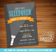 Printable Chalkboard Boy Sleepover Birthday Invitation | Slumber Party | Backyard Camping Party Idea | Flashlight | FREE thank you card included | Matching printable party package available! Banner |