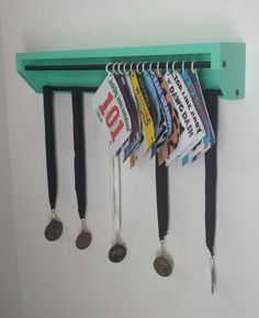 Trendy Running display for race bibs and medals-Aqua. race bibs holder, medals and bibs holder, running bibs display, medal holder, custom. Running Bib Display, Race Bib Display, Race Medal Displays, Trophy Display, Award Display, Runner Medal Display, Display Ideas, Show Ribbon Display, Race Medal Holder