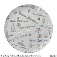 Grey Merry Christmas Melamine Plate