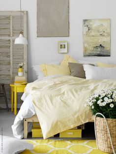 Yellow accents make for a relaxing bedroom