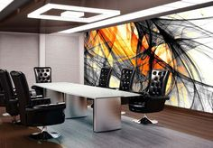 office interior decorating ideas include abstract art print made by digital printing
