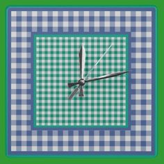 Wall Clock, Emerald Green and Monaco Blue Check Gingham Patterns