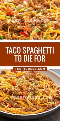 Taco Spaghetti, Spaghetti Recipes, Pasta Recipes, Cooking Recipes, Spinach Recipes, Pork Recipes, Cooking Tips, Spaghetti Casserole, Baked Spaghetti