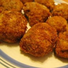 Tasty Fried Eggplant Balls Allrecipes.com    I just made these and they are really great! I used Italian Seasoned bread crumbs instead of plain, I love them!!!