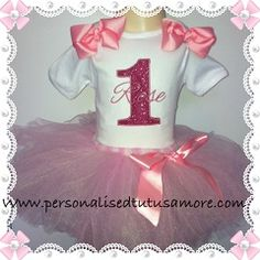 071f9756c Rose Coloured Sparkle Girls Personalized Birthday Top & Pink Tutu Outfit  with Skirt