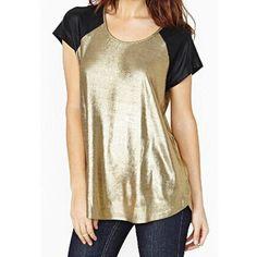 Stunning Scoop Neck Color Block Short Sleeve T-Shirt For Women LAVELIQ