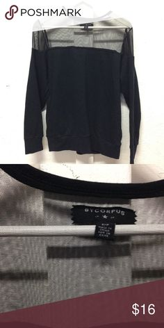 Mesh / knit sweater by corpus material blend of mesh chiffon and black jersey with pockets Urban Outfitters Tops Sweatshirts & Hoodies