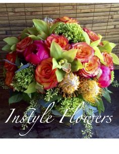 Thanksgiving day arrangement. Coral Charm Peonies, Freespirit Rose and Pincushion Portea Instyle Flowers 310798-6195