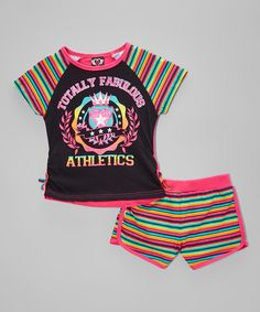 Look at this #zulilyfind! Real Love Black 'Fabulous' Tee & Stripe Shorts - Infant & Girls by Real Love #zulilyfinds
